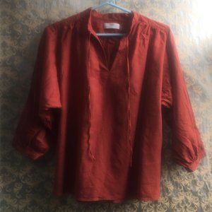 Uniqlo Orange Linen Peasant Blouse - Size Med
